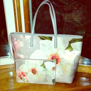 Ted Baker floral tote bag with detachable pouch
